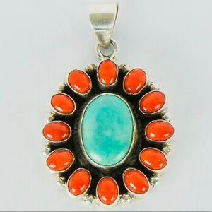 Navajo Piaso Turquoise Coral Sterling .925 Pendant